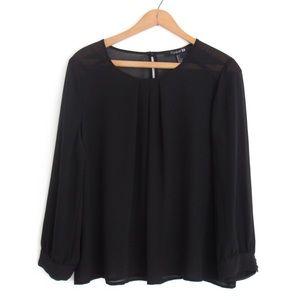 Sheer Black Flowy Blouse